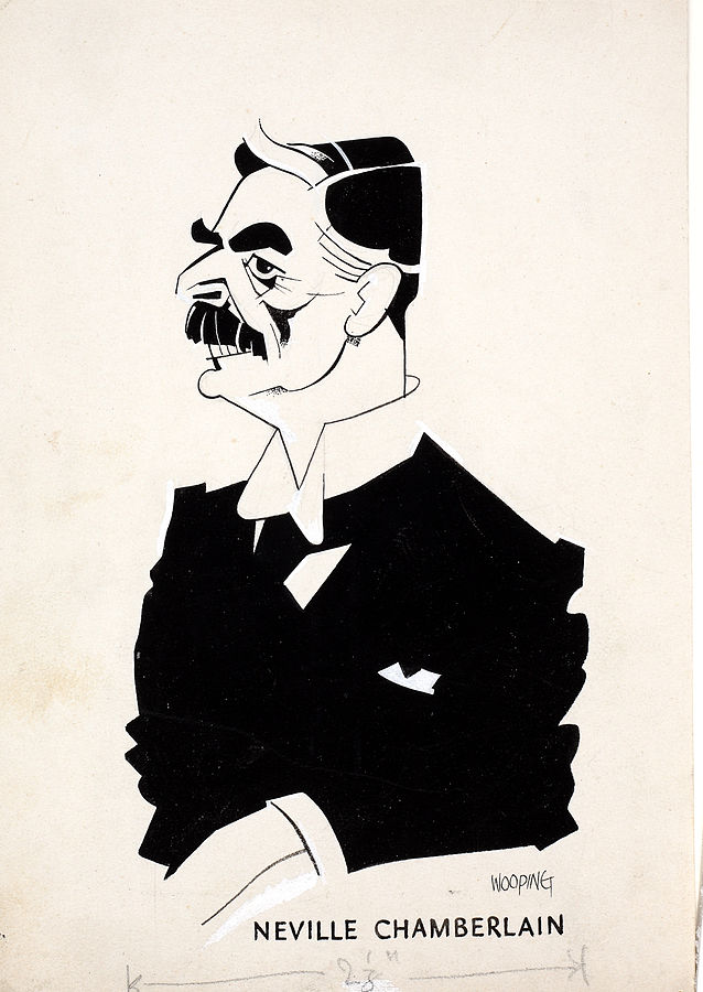 Caricature of British Prime Minister Neville Chamberlain, 1940 (Artist: Wooding; National Archives, United Kingdom: INF3-46)