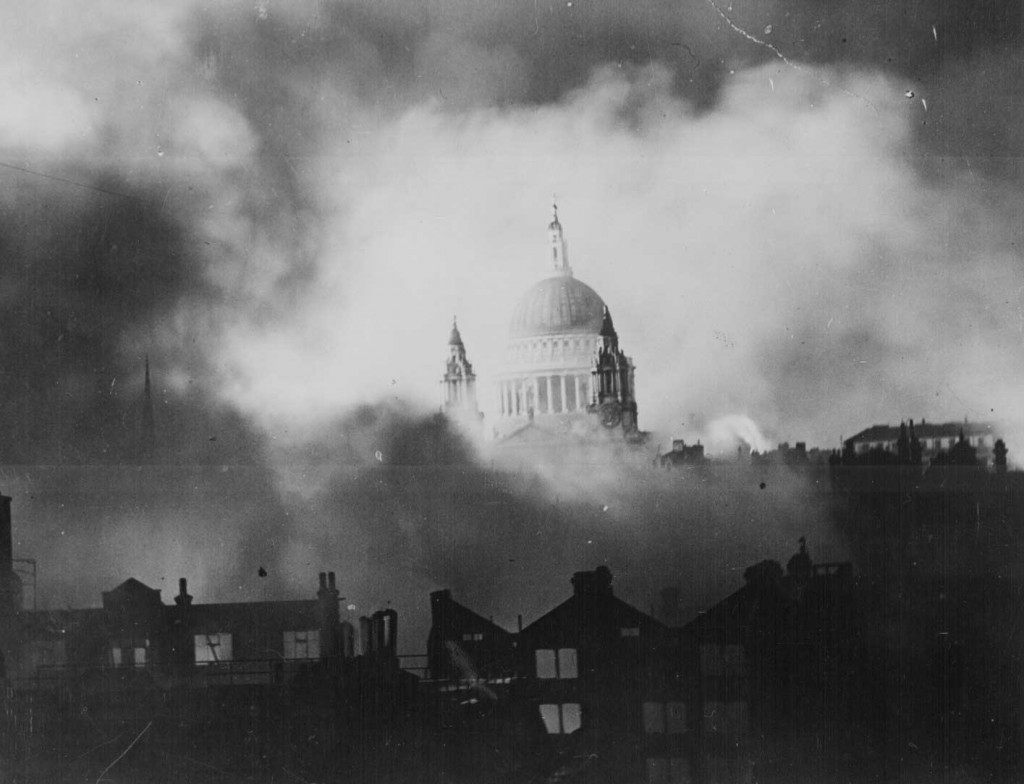 St. Paul's Cathedral during the great raid on London, England, 29 Dec 1940 (US National Archives: 306-NT-3173V)