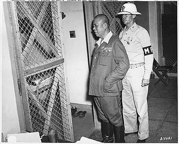 Gen. Tomoyuki Yamashita imprisoned at Manila, circa Oct-Nov 1945 (US National Archives: ARC 292616)