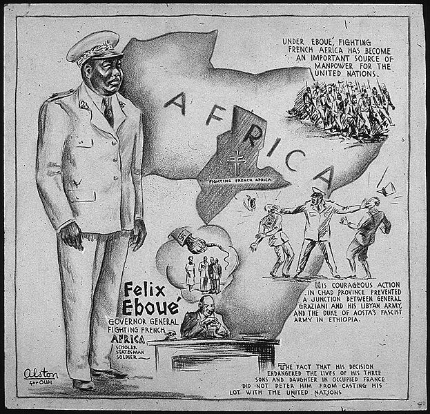 US cartoon honoring Felix Eboue, colonial governor of Chad during WWII and France's first black colonial governor (Artist: Charles Alston; US National Archives: 3569253)