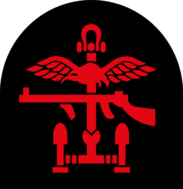 Shoulder patch of the British Combined Operations in WWII (albatross for the RAF, submachine gun for the Army, anchor for the Navy)