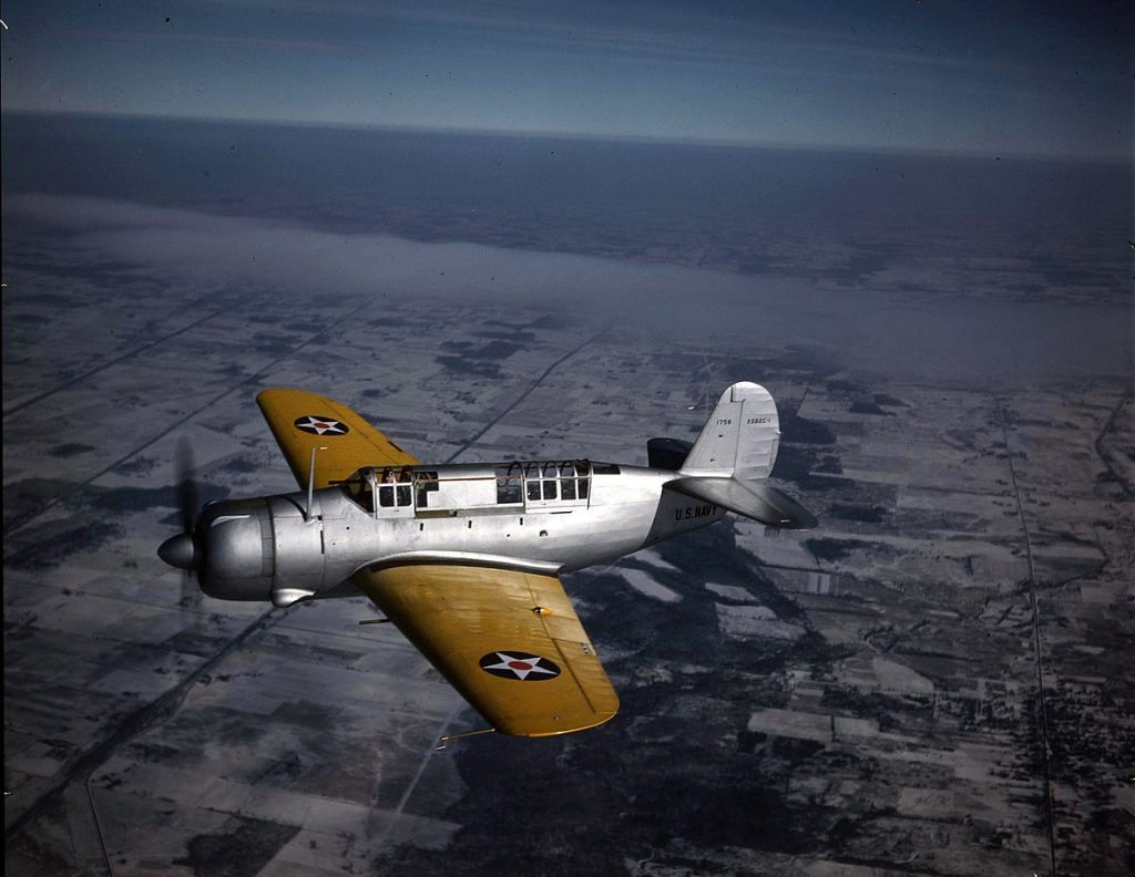 Prototype Curtiss XSB2C-1 Helldiver on its maiden flight, 18 December 1940 (US government photo)