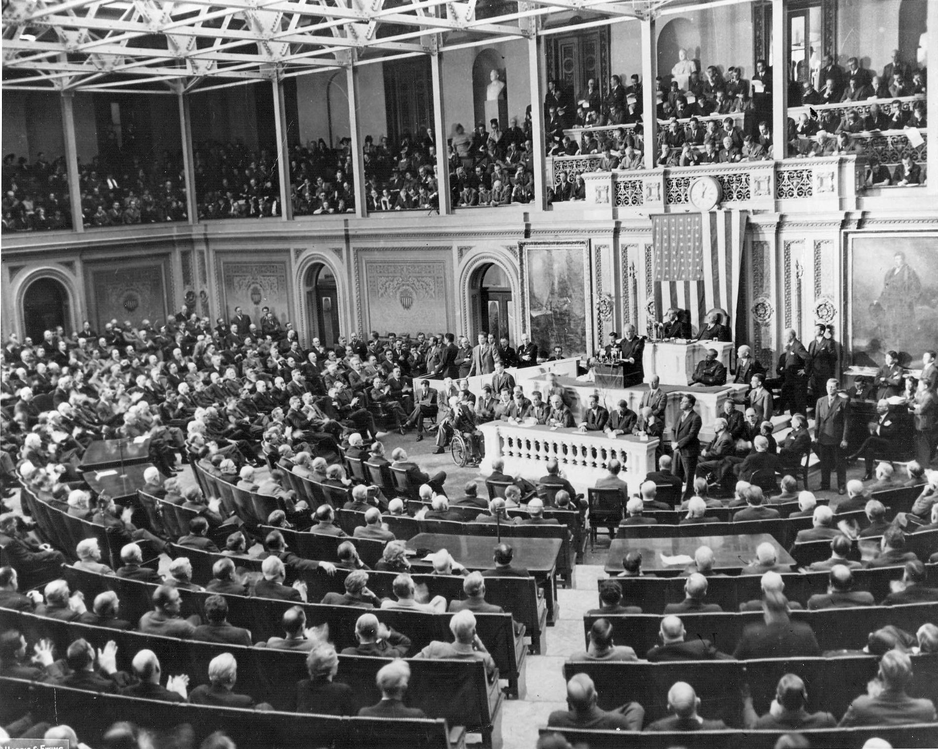 President Franklin Roosevelt delivering his State of the Union address to Congress, 6 Jan 1941 (US National Archives)
