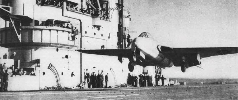"De Havilland Sea Vampire Mk.10 flown by Lt. Cdr. Eric ""Winkle"" Brown taking off from the carrier HMS Ocean on 3 December 1945 (British government photo)"