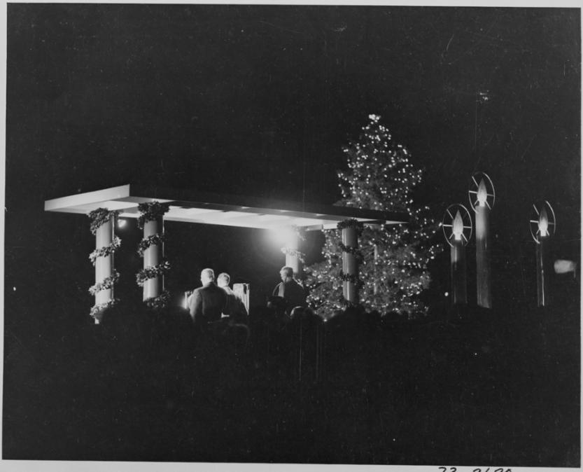 President Harry S. Truman lights the National Community Christmas Tree, Washington, DC, 12/24/1945 (US National Archives: 199275)