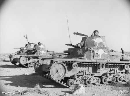 Captured Italian M13/40 and M11/39 tanks pressed into Australian service, North Africa, 23 Jan 1941 (Australian War Memorial: 005042)