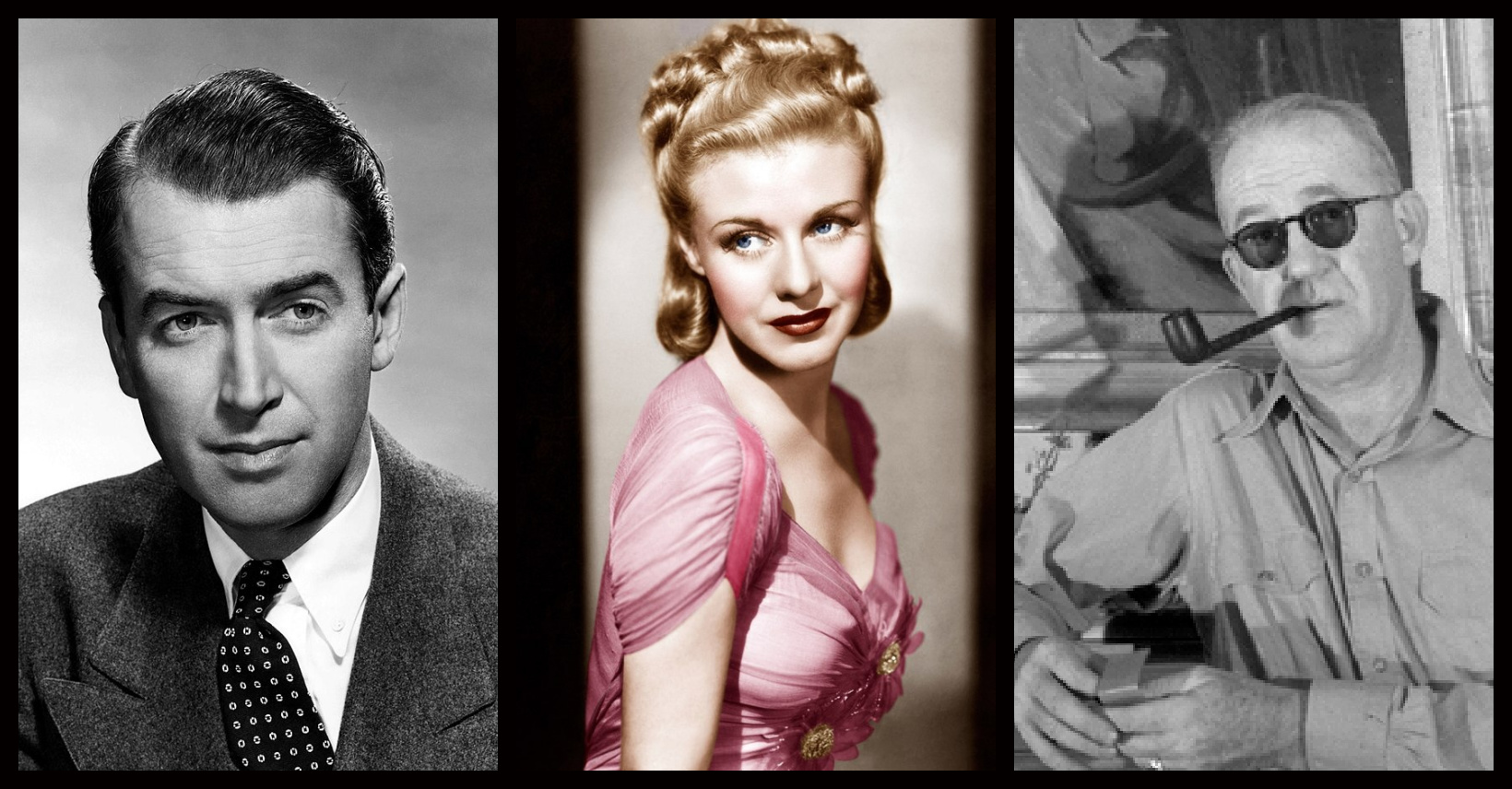 Winners of the Academy Awards, 27 February 1941: James Stewart (1948 publicity photo); Ginger Rogers (1937 publicity photo); John Ford, 1946 (all photos public domain via Wikipedia)
