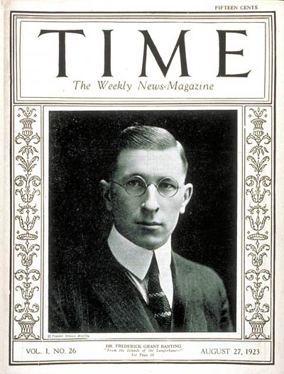 TIME Magazine Cover Featuring Frederick Banting, 27 Aug 1923 (public domain via Wikipedia)