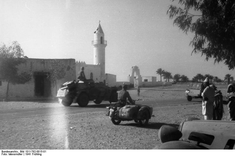 German motorized troops, including a motorcycle and a reconnaissance vehicle, Libya, March-May 1941 (German Federal Archive: Bild 101I-782-0015-01)
