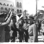 Italian Gen. Italo Gariboldi welcoming German generals Erwin Rommel and Johannes Streich to Tripoli, Libya, 12 Feb 1941 (German Federal Archive: Bild 101I-424-0258-32)