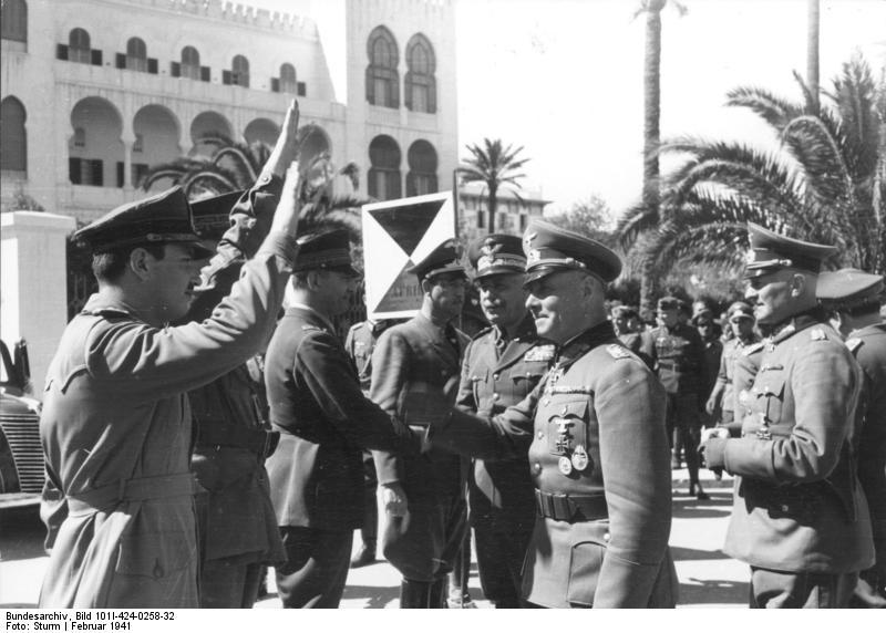Italian Gen. Italo Gariboldi welcoming German generals Erwin Rommel and Johannes Streich to Tripoli, Libya, 12 Feb 1941 (German Federal Archive: Bild 101I-424-0258-32)