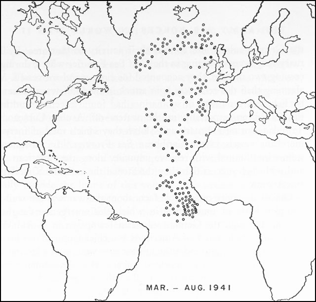 Map showing Allied merchant ship losses in the Battle of the Atlantic from March to August 1941 (public domain from Craven, Wesley & Cate, James, The Army Air Forces in World War II: Volume I, Plans and Early Operations)