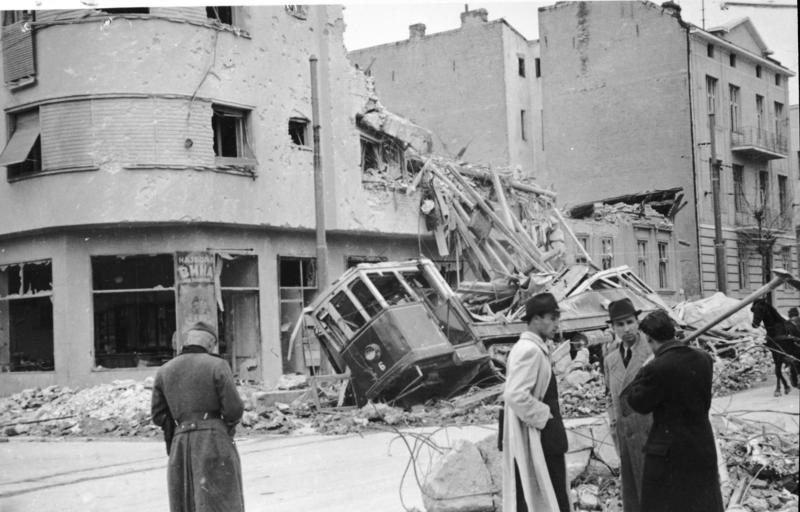 Bomb-damaged buildings and tram in Belgrade, Yugoslavia, April 1941 (German Federal Archive: Bild 141-1005)