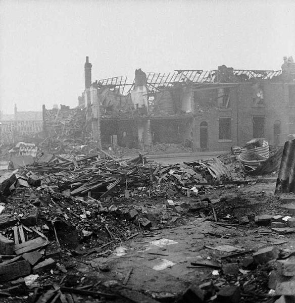 Bomb damage on James Street, Aston Newtown, Birmingham, 1940 (Imperial War Museum: D 4126)