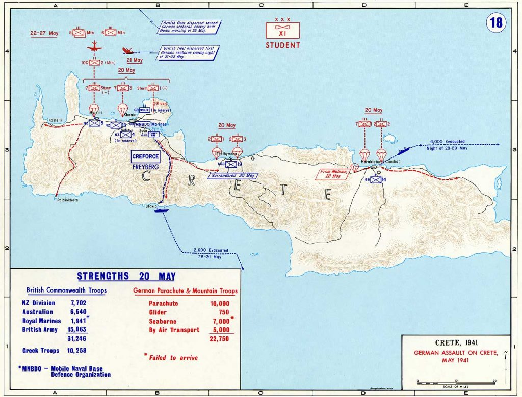 Map depicting the German assault on Crete, Greece, 20-31 May 1941 (US Military Academy map)