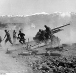 German 15 cm sFH 37(t) howitzer shelling Metaxas Line fortifications, Greece, early Apr 1941 (German Federal Archives: Bild 101I-163-0319-07A)