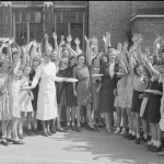 British schoolchildren receive plates of bacon and eggs, imported from America as part of the Lend-Lease program, Aug-Sept. 1941 (Imperial War Museum: D 4324)