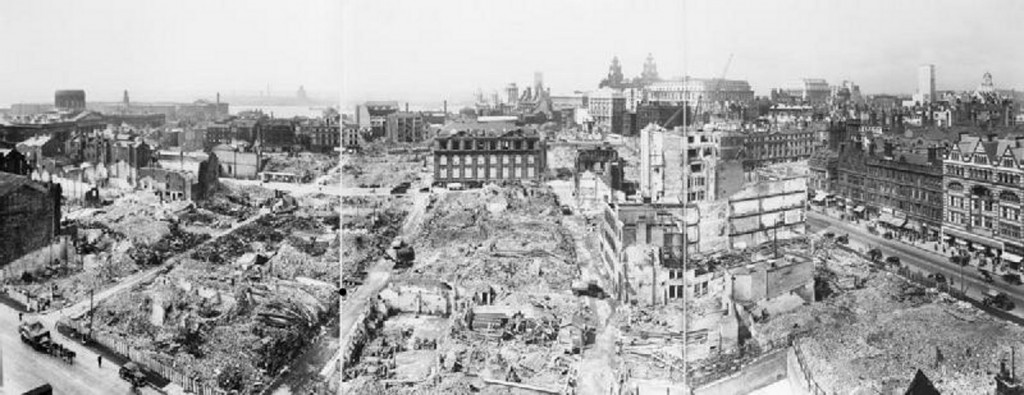Panoramic view of Liverpool, showing bomb damage. The Liver Building can be seen to the right of center, and the River Mersey to the left. (Imperial War Museum: D 5984)