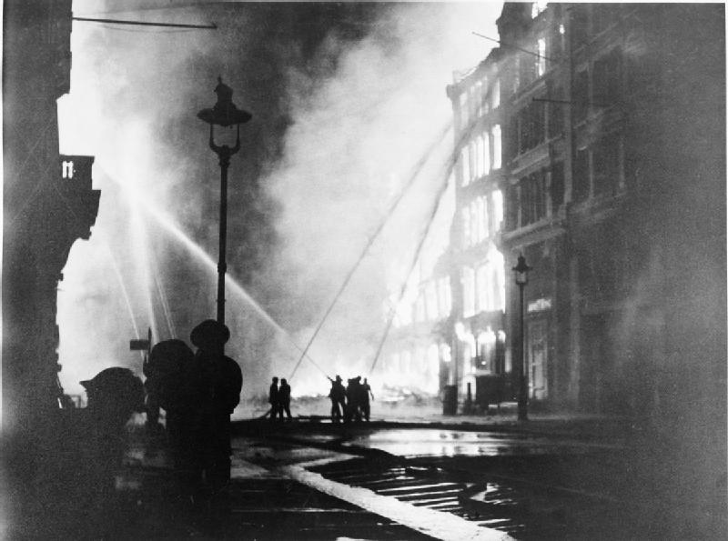 Members of the London Fire Brigade on Queen Victoria Street on the night of 10-11 May 1941, the last major raid in London's Blitz (Imperial War Museum: HU 1129)