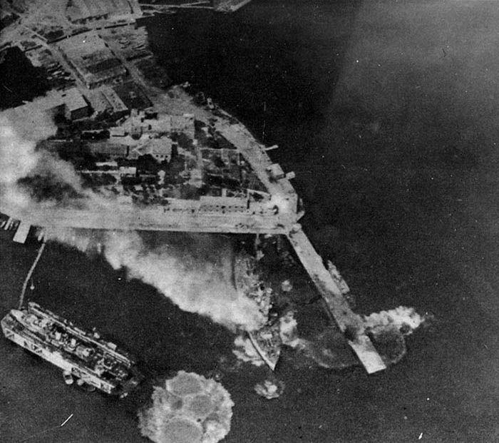 Luftwaffe Ju 87 Stukas bombing Greek battleship Kilkis at Salamis, Greece, 23 April 1941 (US Naval History & Heritage Command NH 54431)