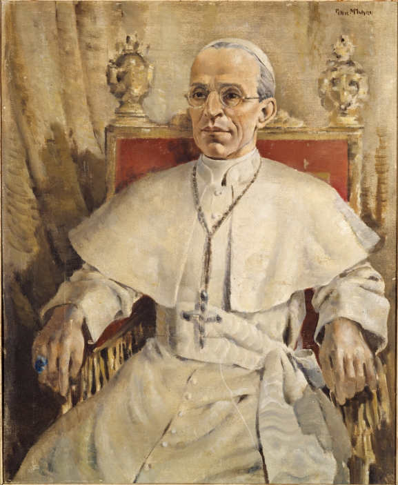Pope Pius XII, painted by Peter McIntyre, 1944 (Archives New Zealand: AAAC 898 Box 128/ NCWA 202)