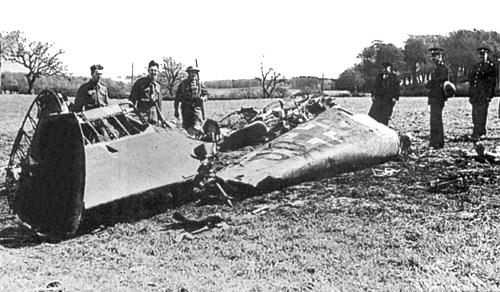 Wreckage of Rudolf Hess's Messerschmitt 110, Bonnyton Moor, Scotland, 10 May 1941 (Imperial War Museum)
