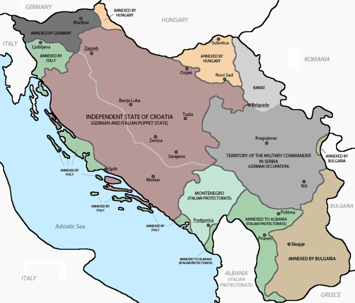 Map showing the Axis partition of Yugoslavia, 1941 (Source: Wikipedia, public domain)