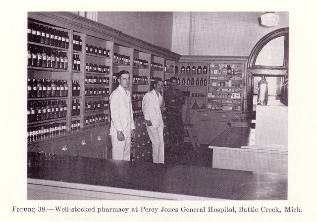 Pharmacy at Percy Jones General Hospital, Battle Creek, MI, WWII (US National Archives)