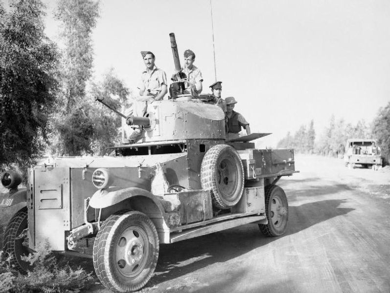 No.2 Armoured Car Company RAF waits outside Baghdad, Iraq, for negotiations to conclude, 30 May 1941 (Imperial War Museum: CM 923)