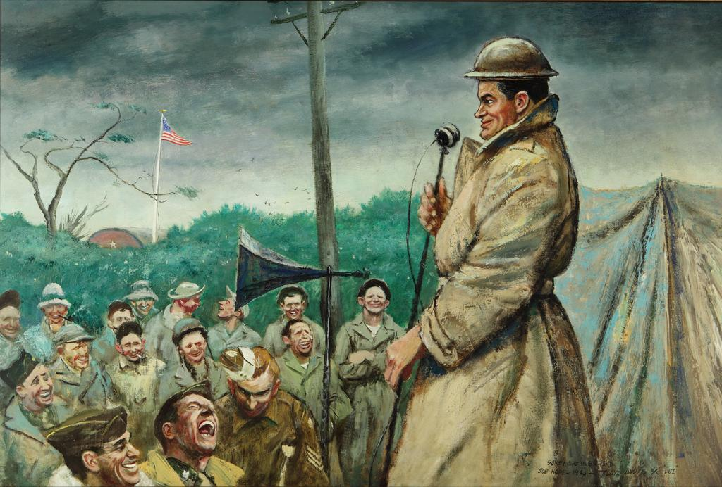 """""""Bob Hope Entertaining Troops Somewhere in England"""" by Floyd Davis, 1942 (US Army Center of Military History)"""