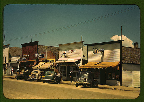 Street scene, including drugstore, Cascade, Idaho, 1940s (Library of Congress)