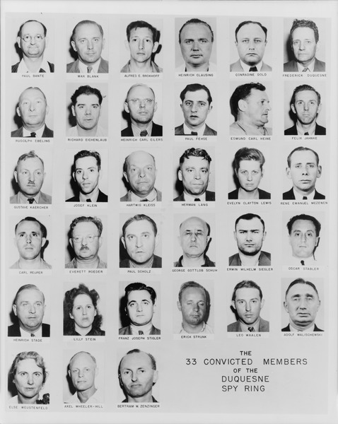 Thirty-three mug shot portraits of the Duquesne spy ring; Duquesne is in the first row, far right. (Library of Congress)