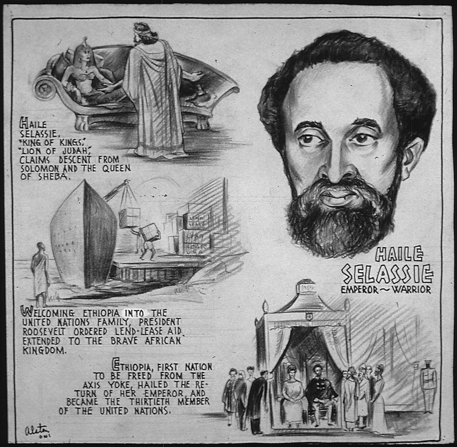 """Haile Selassie – Emperor, Warrior"" by Charles Henry Alston for US Office of War Information, 1943 (US National Archives: 535684)"