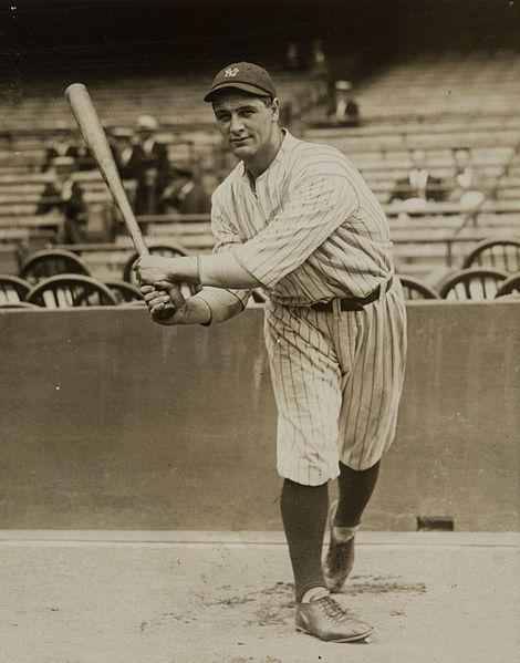 Baseball player Lou Gehrig as a rookie with the New York Yankees, 11 June 1923 (Pacific & Atlantic Photos, public domain, via Wikepedia)