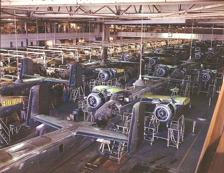 B-25 Mitchell assembly line at North American Aviation plant, Inglewood, CA, October 1942 (US government photo)