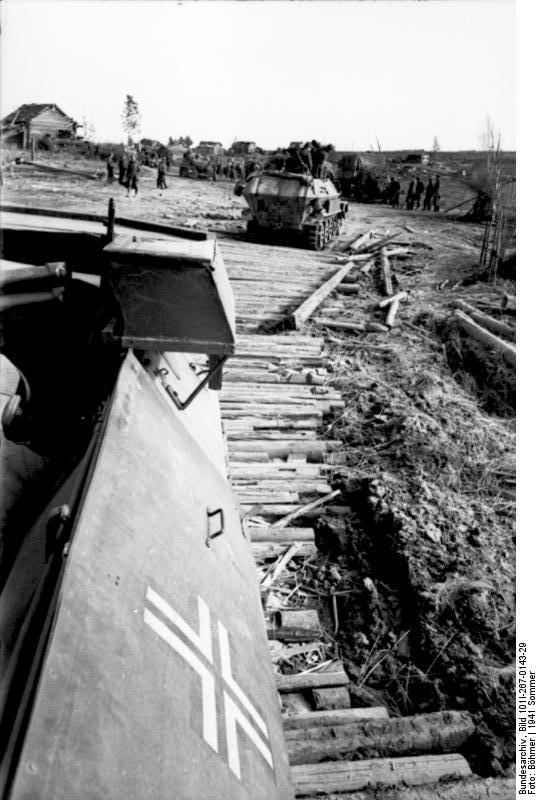 German Army SdKfz. 251 halftrack vehicles advancing toward the Soviet border in preparation for invasion, 21 Jun 1941 (German Federal Archive: Bild 101I-267-0143-29)