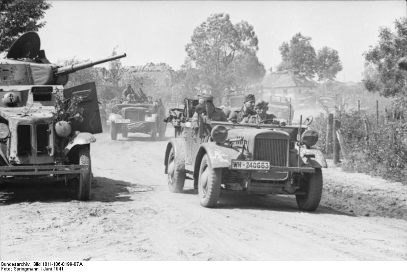 German vehicles in a town in the Soviet Union, Jun 1941 (German Federal Archive: Bild 101I-186-0199-07A)