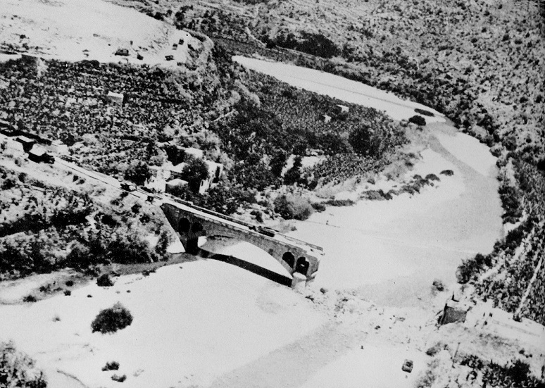 Broken bridge at the mouth of the Damour River, Syria, 1941 (British government photo, public domain)