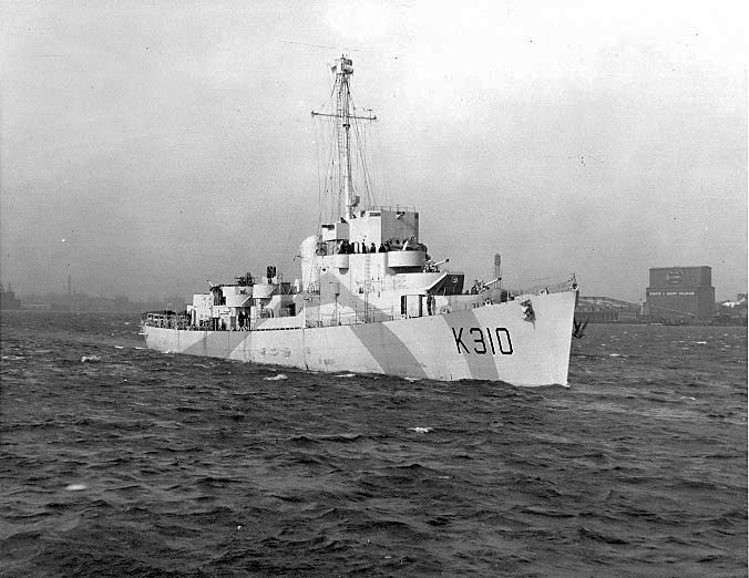 The first destroyer escort built by the US for the British, HMS Bayntun, Boston Harbor, 8 Feb 1943. (US Navy photo)