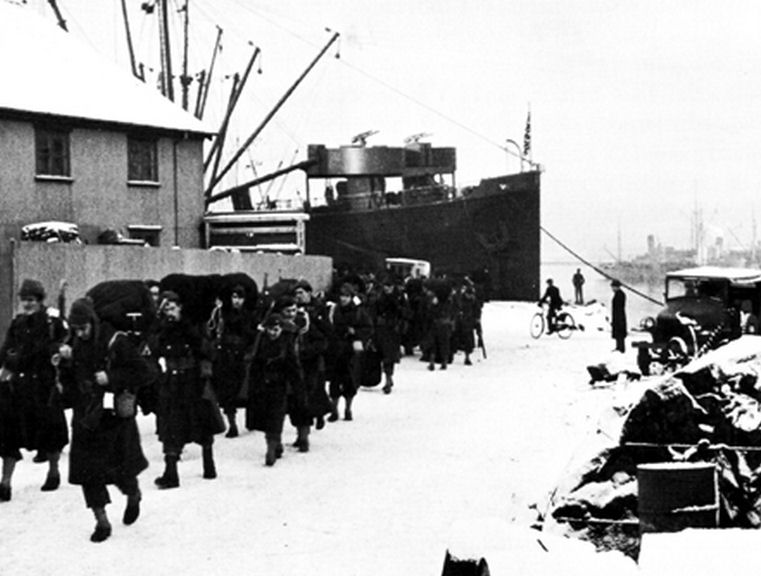 US Army troops arriving in Reykjavik, Iceland, January 1942 (US Army photo)