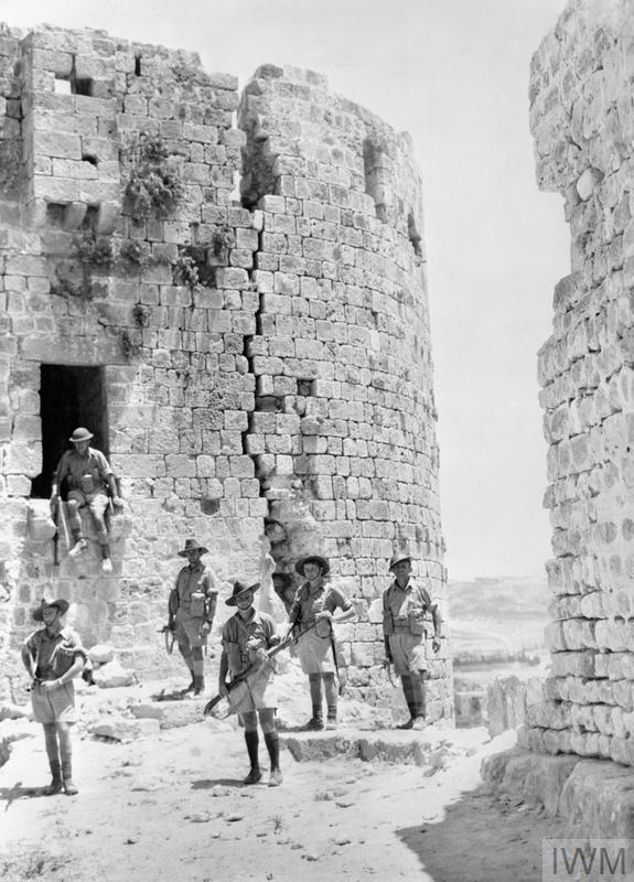 Australian troops among the ruins of the old Crusader castle at Sidon, Lebanon, July 1941 (Imperial War Museum: AUS 533)