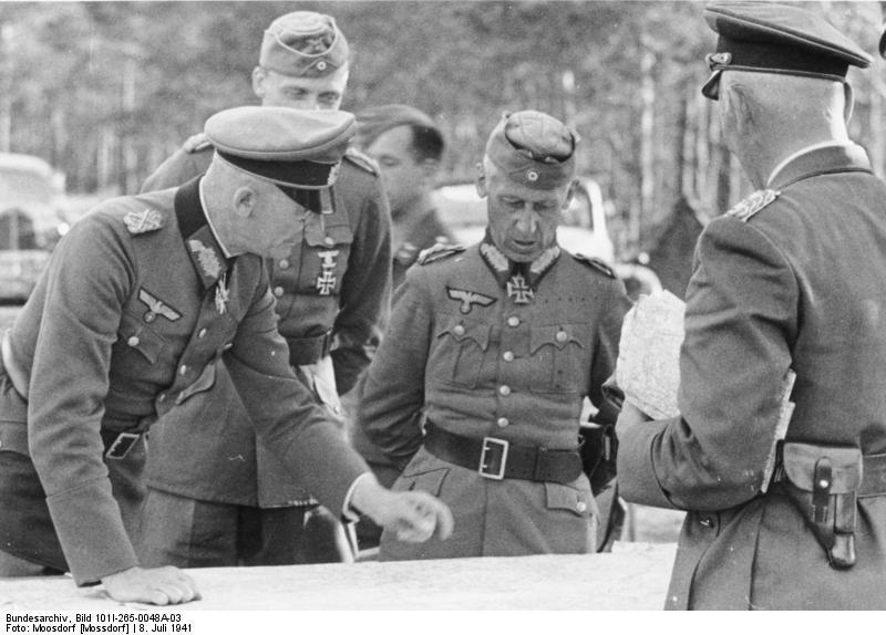 German generals Fedor von Bock, Hermann Hoth, and Wolfram von Richthofen, USSR, 8 Jul 1941 (German Federal Archive, Bild 101I-265-0048A-03)