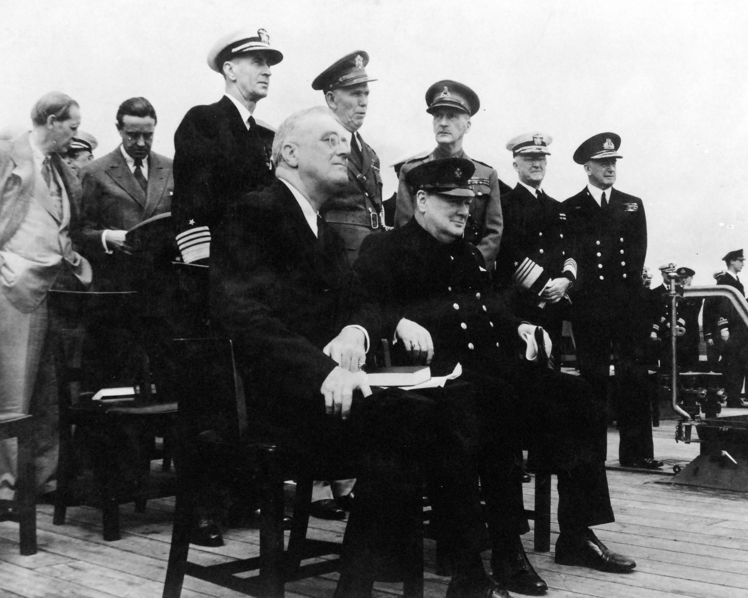 Roosevelt and Churchill at the Atlantic Charter Conference, Placentia Bay, Newfoundland, Aug 1941 (US Naval History and Heritage Command: 80-G-26850)