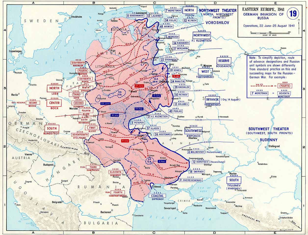Map of Operation Barbarossa, the German invasion of the Soviet Union, 22 Jun-25 Aug 1941 (US Military Academy)