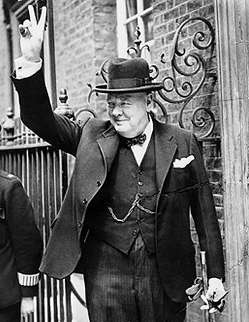 Prime Minister Winston Churchill in Downing Street, London, 5 Jun 1943 (Imperial War Museum: HU 55521)