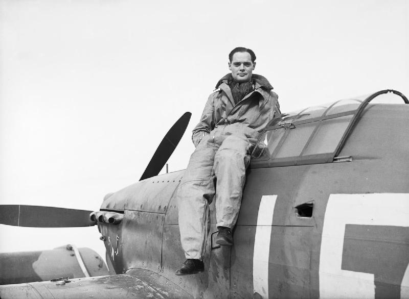Squadron Leader Douglas Bader, CO of No. 242 Squadron, seated on his Hawker Hurricane at Duxford, September 1940 (Imperial War Museum: CH 1406)