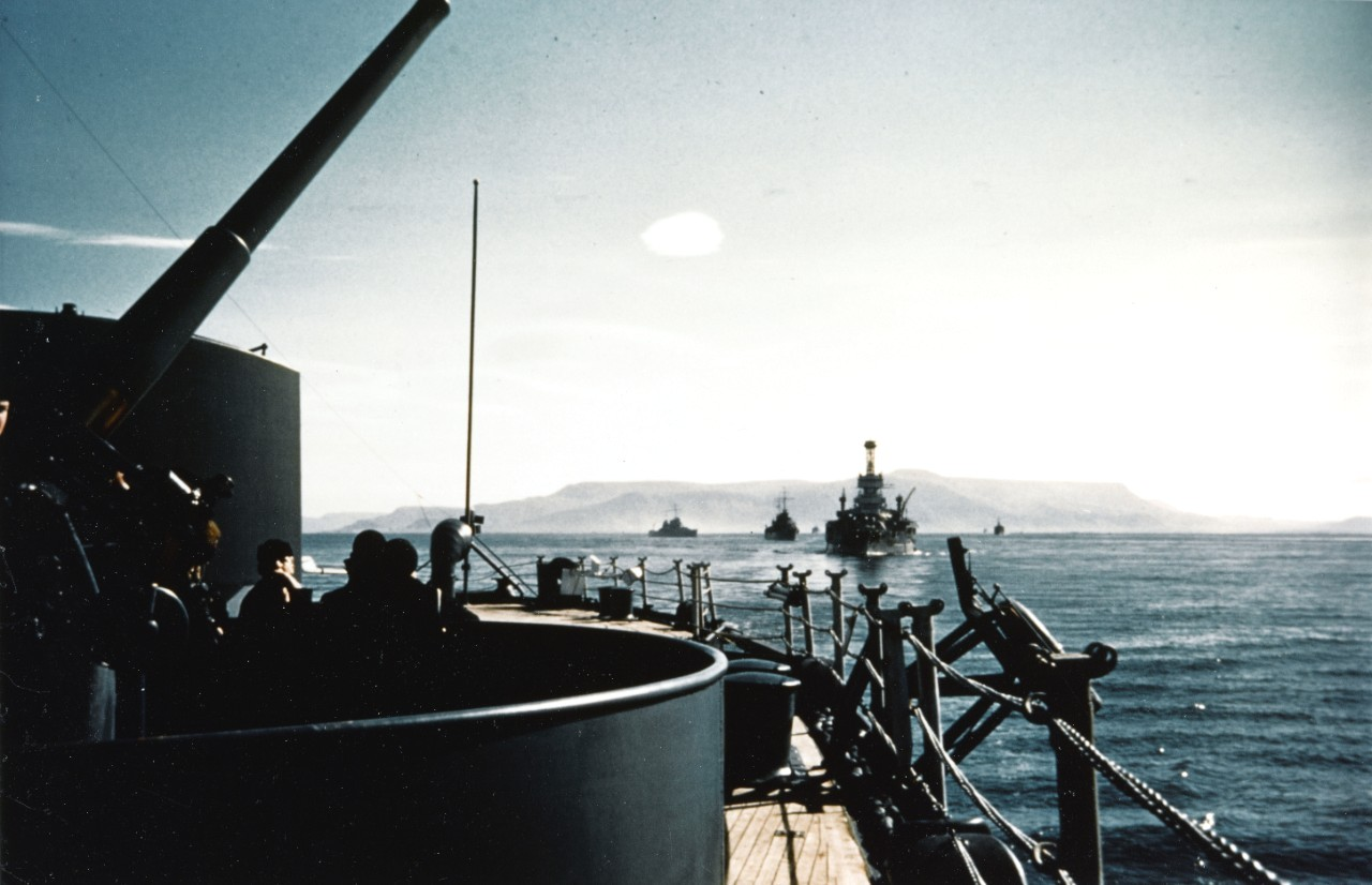 View from battleship USS New York with USS Arkansas and cruisers USS Brooklyn and Nashville as they leave Reykjavik, Iceland, after escorting the US Marine landing force, 12 Jul 1941 (US Navy photo: 80-G-K-5919)