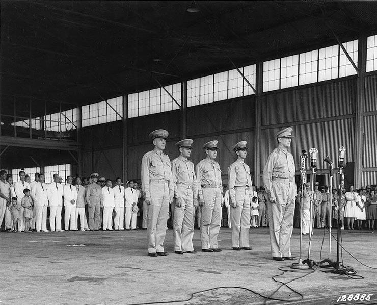 Douglas MacArthur at the induction ceremony of Philippine Army Air Corps, Zablan Field, Camp Murphy, Rizal, Philippine Islands, 15 Aug 1941 (US National Archives: SC 128885)