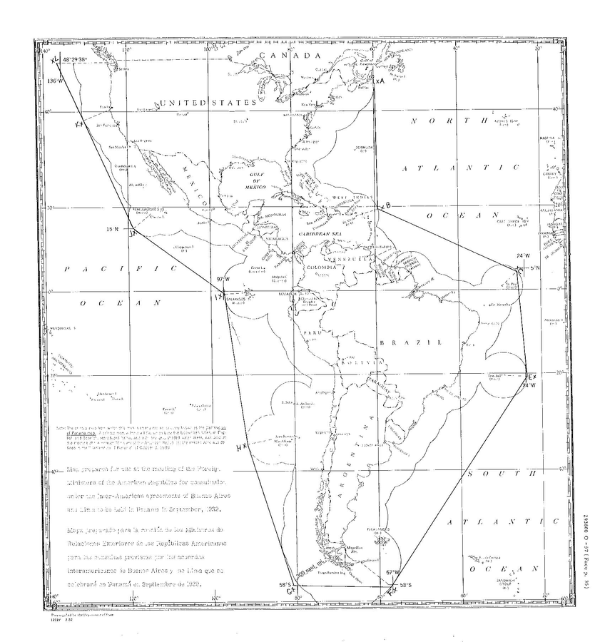 Draft map of the Pan-American Security Zone for the Declaration of Panama, October 1939 (US Department of State)