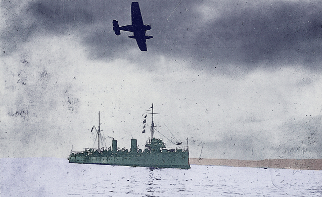 Peruvian naval ship in Ecuadorian waters during the conflict, July 1941 (public domain).